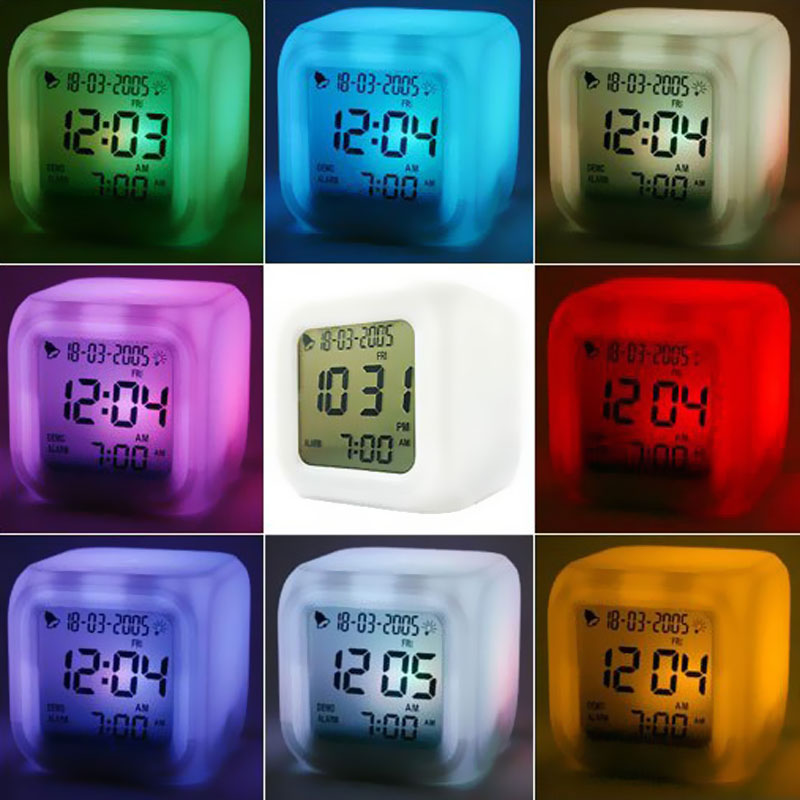 2016 Multi-function LED 7 Color Glowing Change Digital Alarm Clock LED Watch Glowing Alarm Thermometer Clock Cube(China (Mainland))
