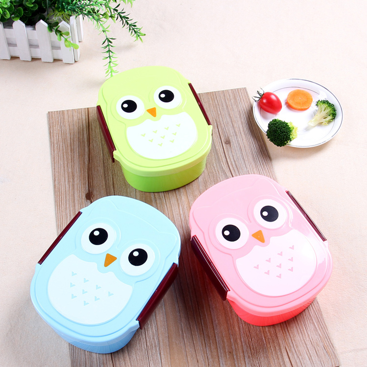 Kawaii Candy Color Owl Lunch Box Microwave Oven Bento Container Case Dinnerware Children's Birthday Gift(China (Mainland))