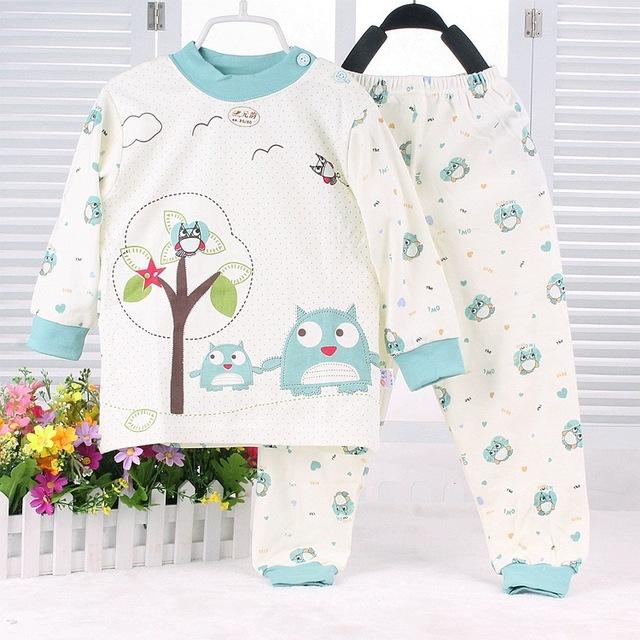 Детская милая пижама с совушками для девочек от 3 месяцев до 3 лет