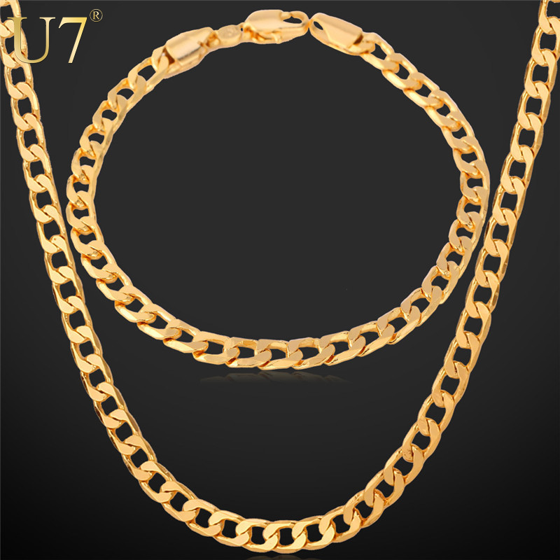 """U7 Gold Necklace Set With """"18K"""" Stamp Trendy Gold /Rose Plated Cuban Link Chain Necklace Bracelet Party Men Jewelry Set S550(China (Mainland))"""