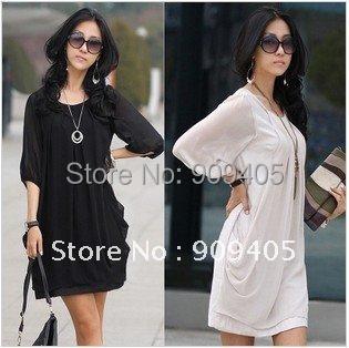 wholesale Free Shipping hot sale fashion Large size of sleeve chiffon Summer women dress 30pcs/lot