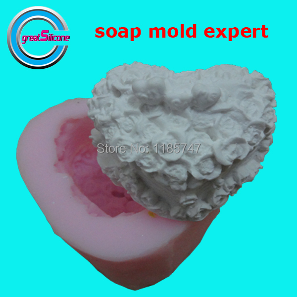3D heart shaped soap mold rose shaped wedding decorative soap candle ,silicone soap mold candle mold silicone mold on sale !!1(China (Mainland))