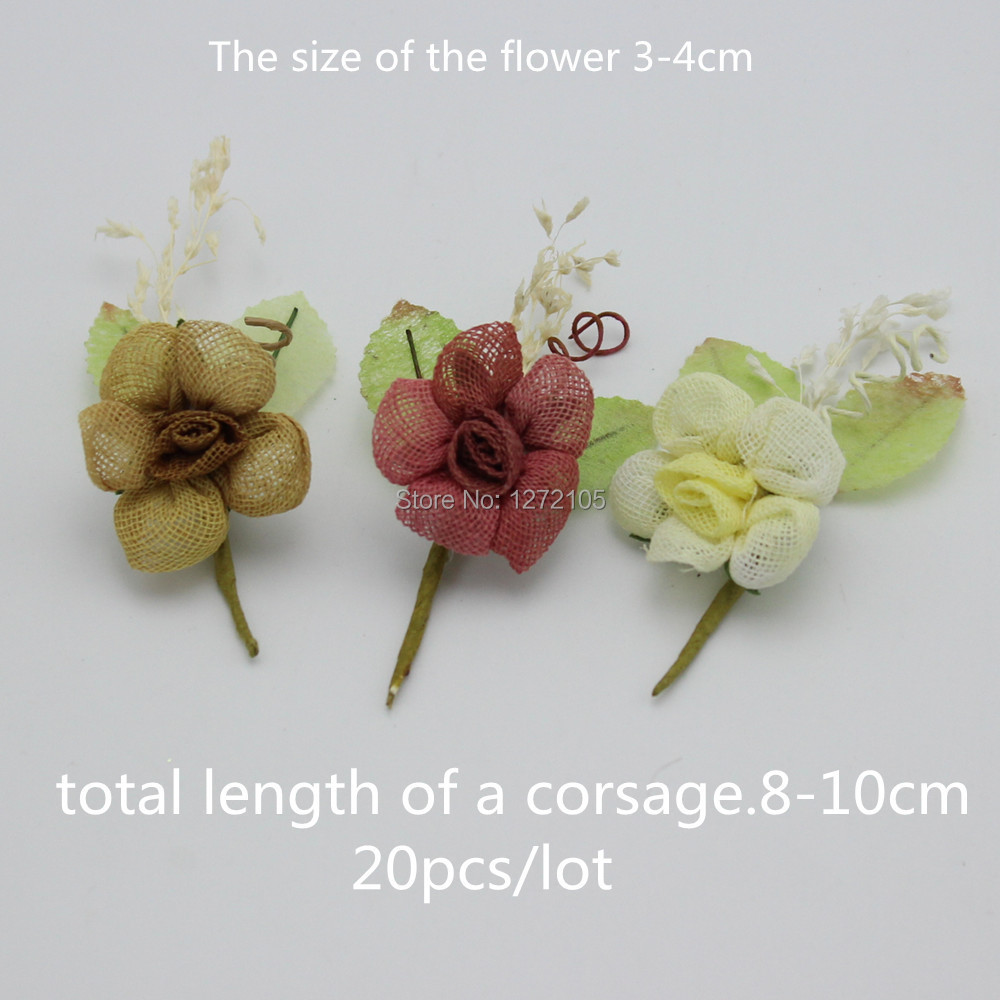 Wedding Decor Corsage Simulation Linen&Wire Handmade Crafts Flower Artificial Flower Free Shipping(China (Mainland))