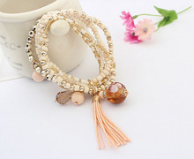 Charm Vintage Multilayer Beads Boho Tassel Beaded Wrap Stretch Bangle Bracelets(China (Mainland))