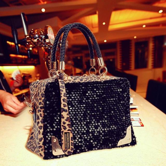 Free shipping 2012 casual women's handbag leopard print paillette bag shoulder bag handbag messenger bag women's handbag