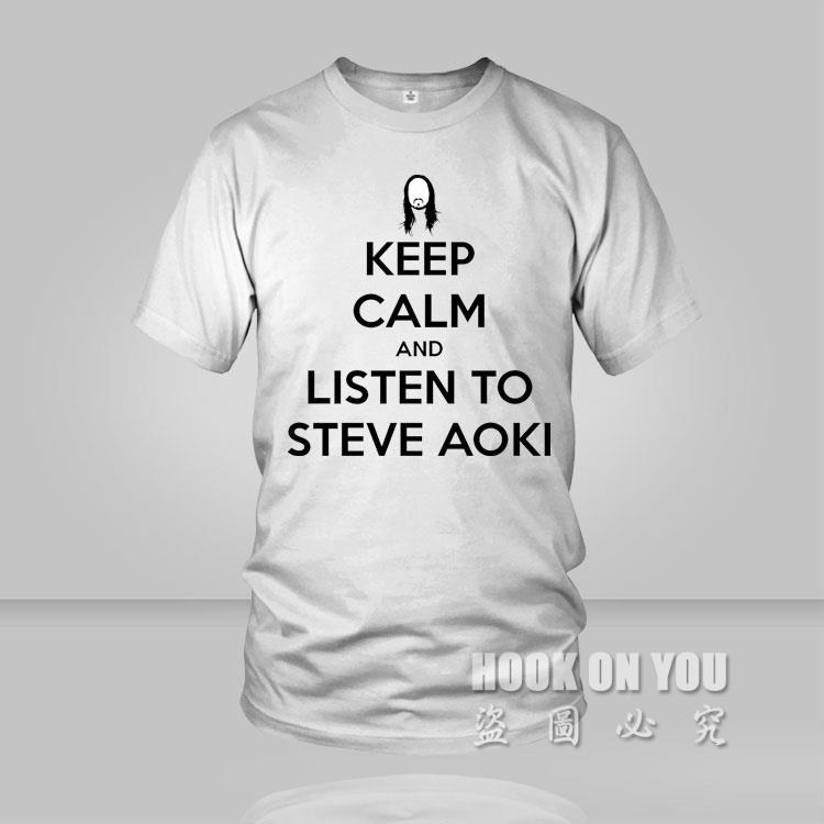 2015 fashion Japanese Music DJ Steve Aoki Men T Shirt super keep calm and listen to Steve Aoki camiseta(China (Mainland))