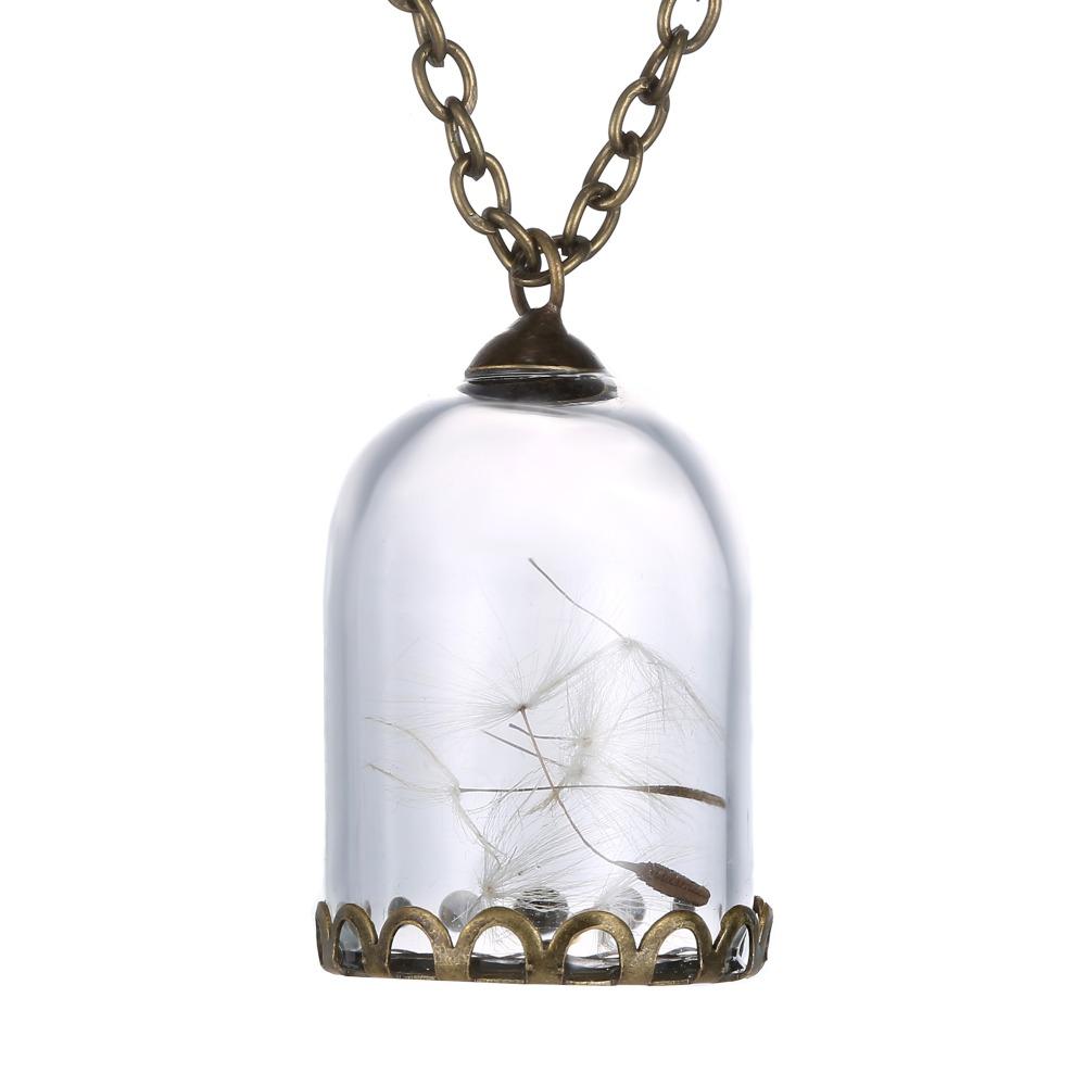 2016 diy handmade real dandelion glass bottle necklace