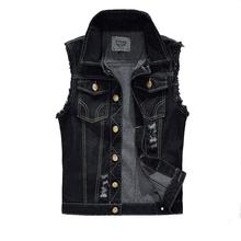 Denim Vest Mens Jackets Sleeveless Fashion Washed Jeans Waistcoat Mens Tank Top Cowboy Male Ripped Jacket Plus Size 4XL EDA359(China (Mainland))