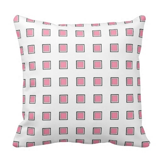 Free Flamingo Pink Checked Design Classy Throw Pillow Case (Size: 45x45cm) Free Shipping