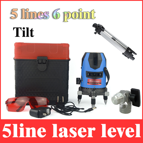 laser level 5 lines 6 point 360 rotary outdoor tilt function laser leveling line lazer levels without battery + 1.5m tripod LL27