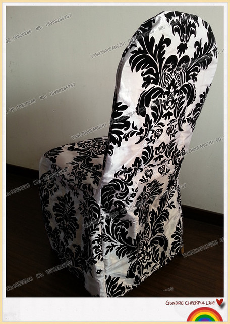 free shipping taffeta flocking banquet chair cover for weddings