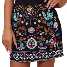 Buy Retro embroidery black floral short skirt Casual autumn winter high waist slim women skirt Vintage 90's mini skirts for $17.89 in AliExpress store