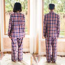 Song Riel autumn and winter plaid cotton long sleeved pajamas couple home service men and women