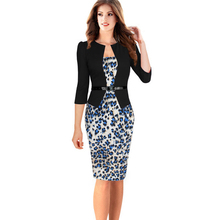 Nice-forever One-piece Faux Jacket Brief Elegant Patterns Work dress Office Bodycon Female 3/4 Or Full Sleeve Sheath Dress b237(China (Mainland))