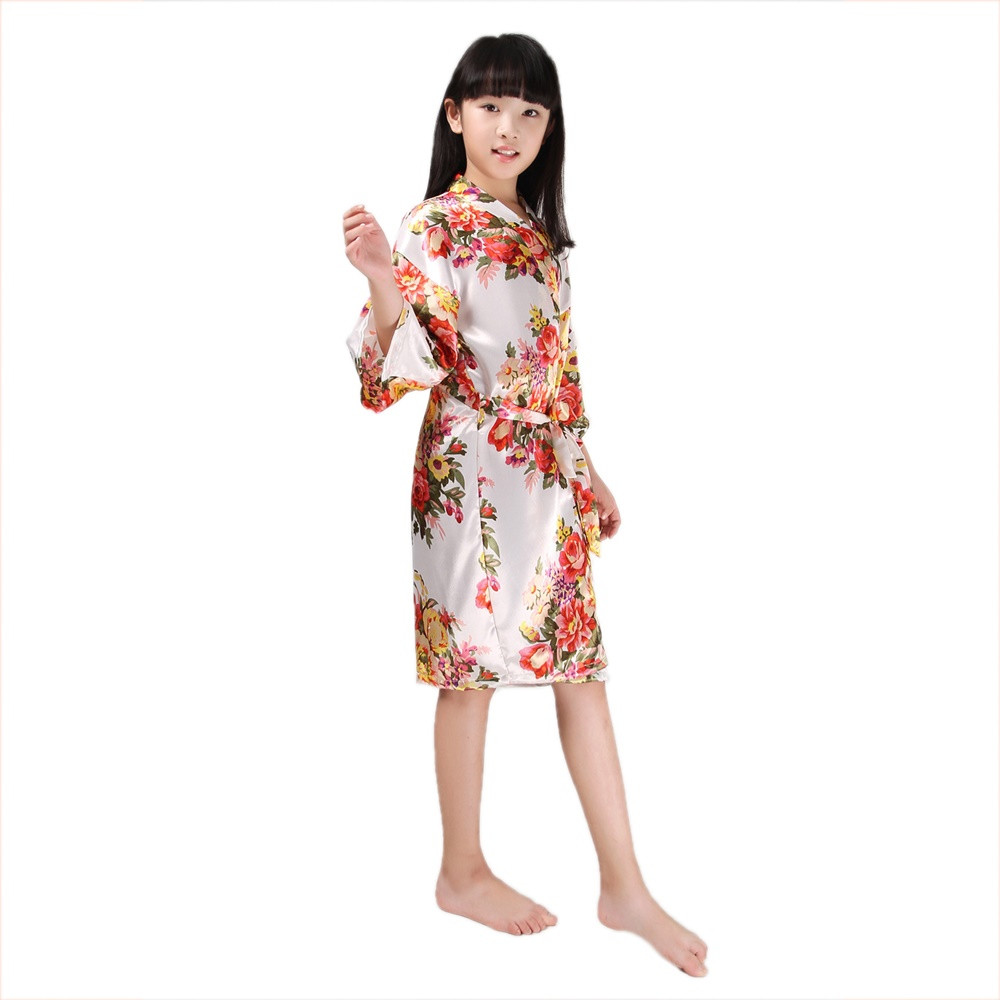 2019 Wholesale Flower Girl Robes Floral Satin Silk Bridal Kids ... 2c3652711
