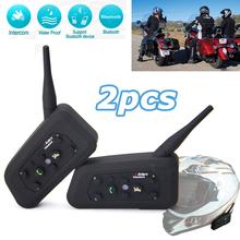2 x BT Bluetooth Motorcycle Helmet Interphone Intercom Headset Helmet Headset 6 Riders 1200M