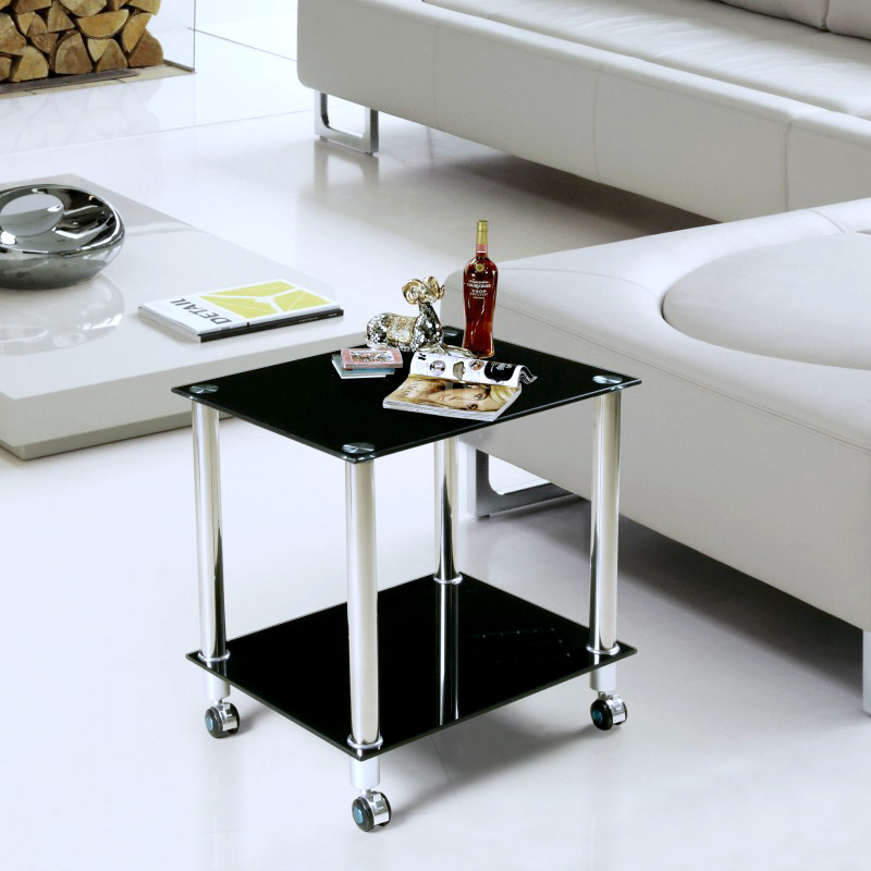 Printer tables minimalist sofa side a few small coffee for Small square glass coffee table