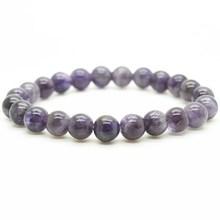 Amethyst bracelet fashion natural 6MM semi precious stone round beads stretch jewelry bangle men girl women free shipping(China (Mainland))