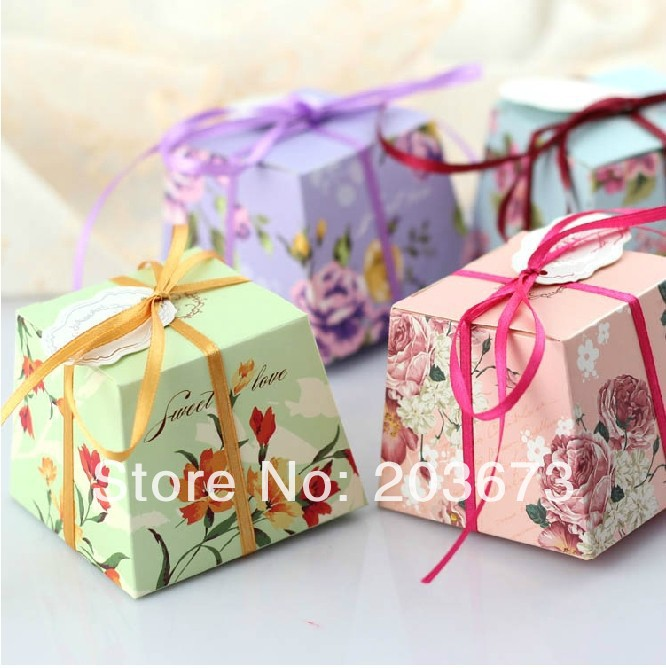 5.5x5.5x7cm Paper Chocolate Box Milticolor Wedding Favors Candy Boxes Gift Packaging 100 pcs-Lot(China (Mainland))