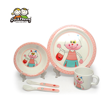 Baby 5PC Melamine Dinnerware Set With Gift Box Feeding Set Include Dish Bowl Cup Spoon Fork