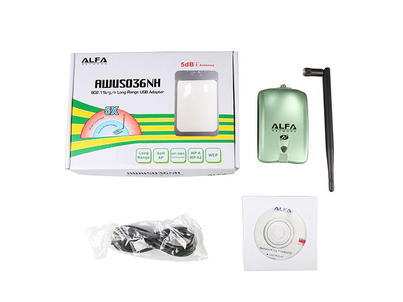 2.4Ghz Alfa AWUS036NH USB Network Card Wireless 2000mW long range 802.11b/g/n Ralink3070 N WIFI Adapter 5dBi dipole antenna(China (Mainland))