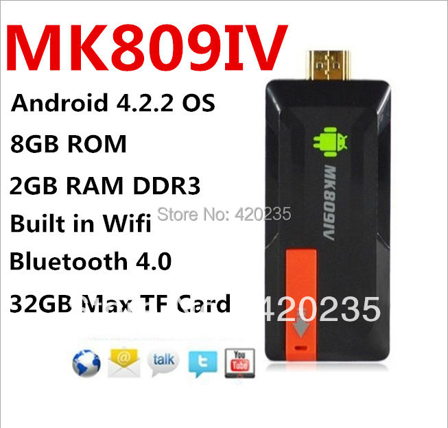 TV Stick OEM MK809IV TV Stick RK3188 A9 /android 4.4 2G /8G TV wifi MK809iii MK809IV Quad Core Mini Android TV Box 2015 cheapest mk809iii wifibluetooth android google tv stick android usb tv stick