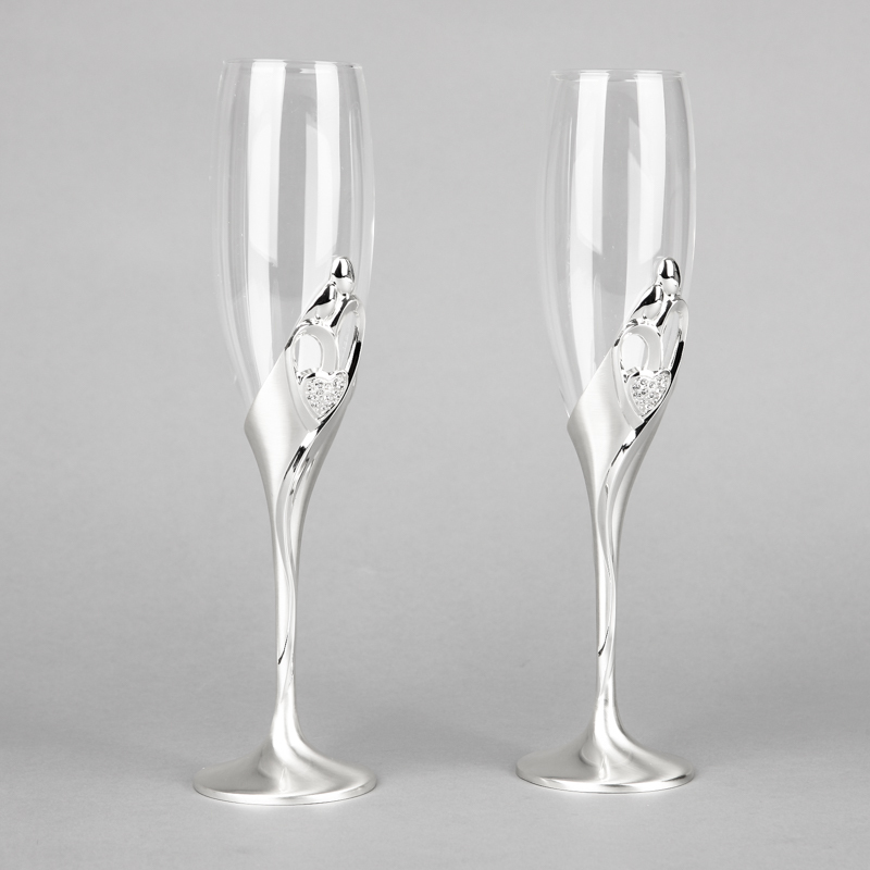 2015 New arrival fashion 26cm height wedding champagne glasses goblet toast flute silver martini glass party wine glass(China (Mainland))
