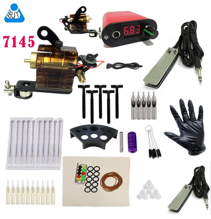 BJT completeTattoo Rotary Machine Gun Kit LED Tattoo power supply grip tips Set Tattoo(China (Mainland))