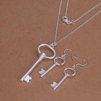 Free Shipping Wholesale 925 Sterling Silver Jewelry Sets 925 Silver Fashion Jewelry,Key Necklace&Earring SMTS191