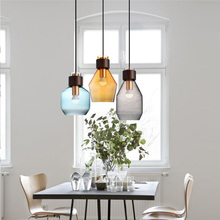 Buy Bar single glass pendant lamp gray Blue amber glass lampshade E27 LED pendant lights bar cafe salon indoor lighting fixture for $99.00 in AliExpress store