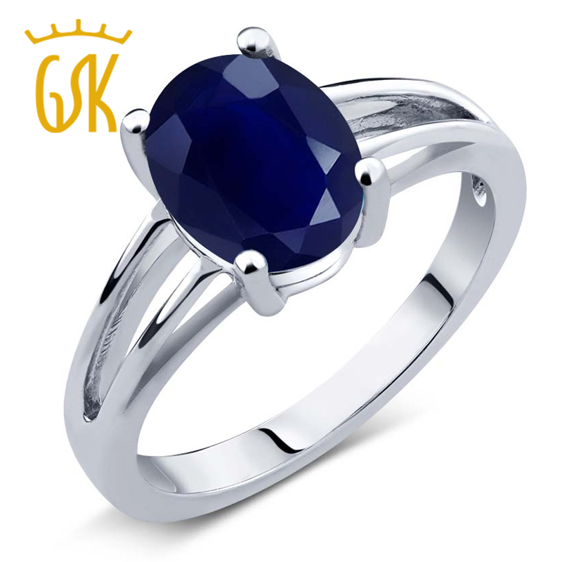 2.50 Ct Oval Blue Sapphire 925 Sterling Silver Ring<br><br>Aliexpress