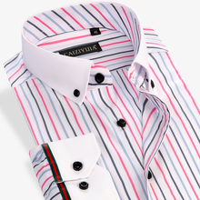 Summer 2016 New Colored Striped Shirt Men Business Casual White Square Collar Long Sleeve Slim Fit Bamboo Fiber Non Iron Shirts(China (Mainland))