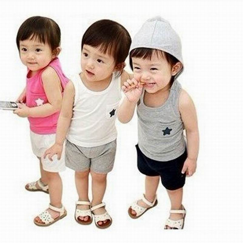 2015 New Fashion Children Suit Baby Boys and Girls Cotton Vest Star T-Shirt + Shorts Suits Hooded Childrens Clothing Set #6478<br><br>Aliexpress