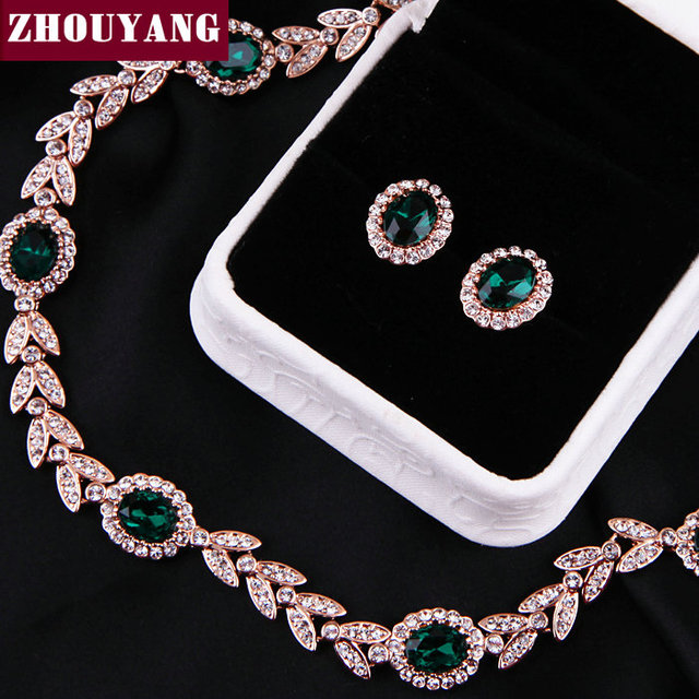 ZYS067 Noble Green Crystal 18K Gold Plated Jewelry Necklace Earring Set Rhinestone Made with Austrian  Crystal Health