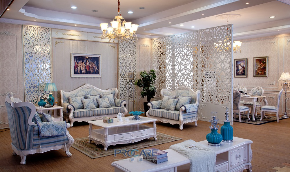 turkish blue and white fabric sofa set solid wood furniture,modern living room couches furniture sets(China (Mainland))