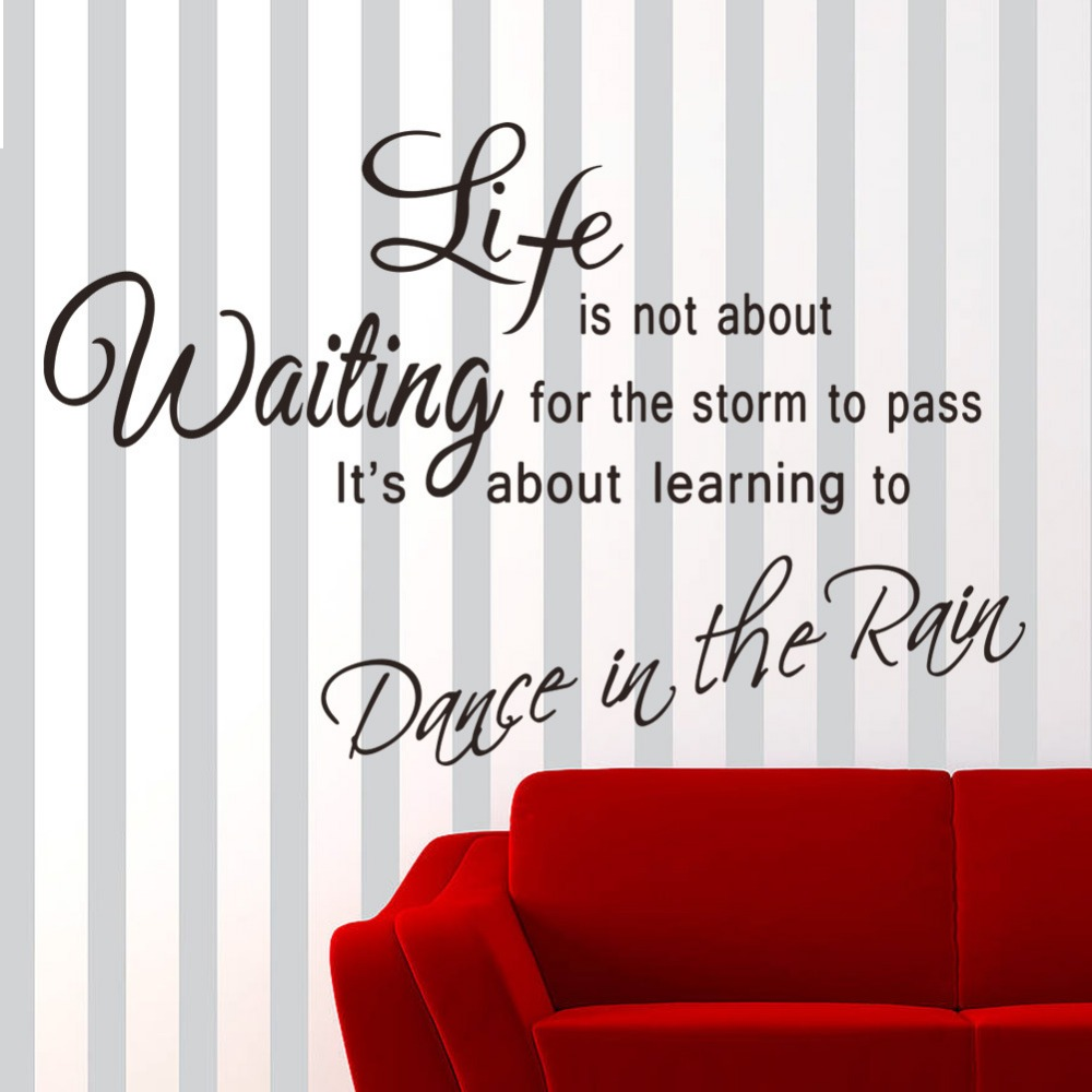 2016 Hot Sale Dance In The Rain Stickers Quotes Removable Decal Pvc Wall Sticker Home Decor Nature Art