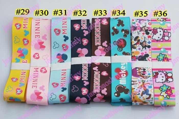 free shipping new arrival 100yard 1'' OR 7/8'' popular cartoon Ribbon Micky Mouse fairy princess hello kitty ribbon(China (Mainland))