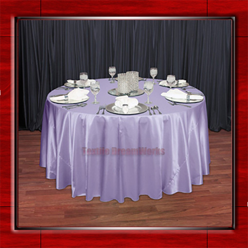 "Lilac 108"" Round Shaped Poly Satin Table Cloth /Banquet Tablecloths/Table Linen/ For Wedding Party Decorating(China (Mainland))"