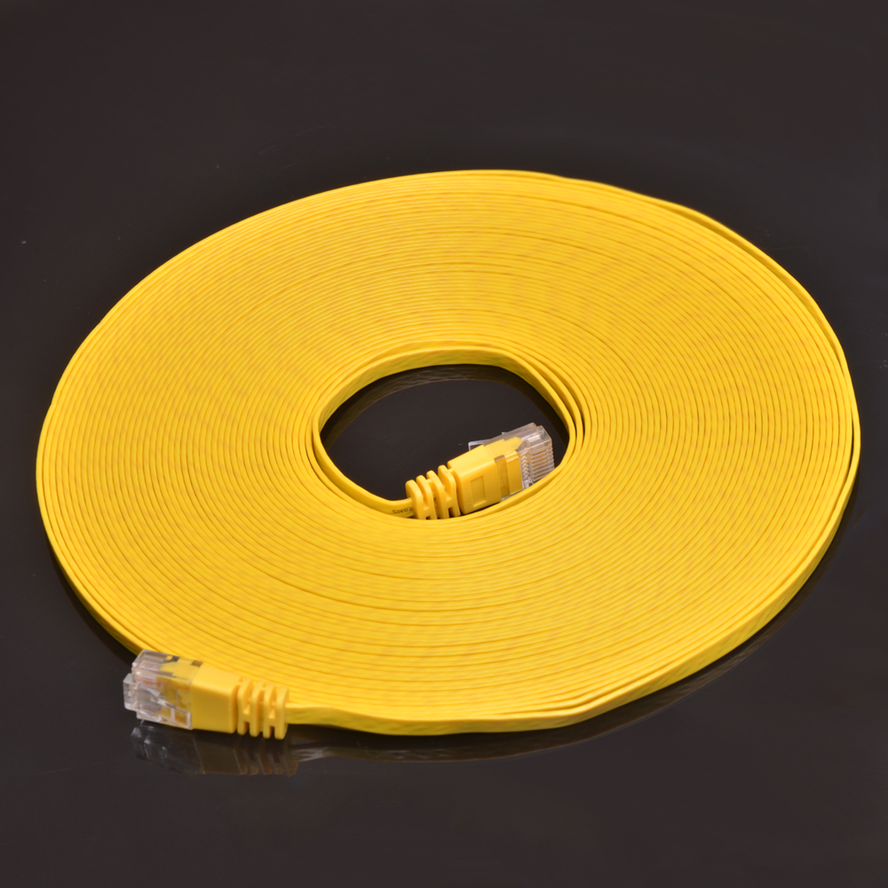 Open Impulse 50 Feet Super Slim Flat CAT6 UTP Ethernet Patch Cable for Internet  4.1 mm in width Yellow Color