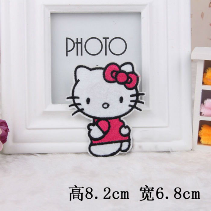 scrapbooking Men and women fashion clothes pants patch attached to cartoon nine red Hello Kitty accessories patch cloth post(China (Mainland))