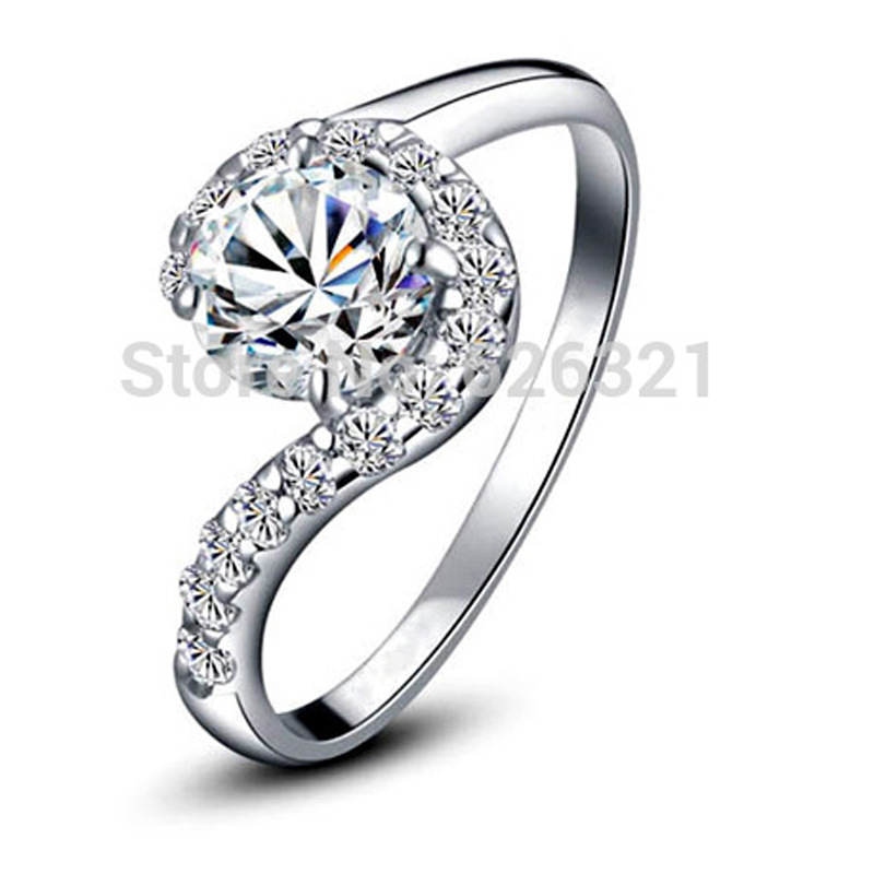 new 18k white gold plated rhinestone bridal