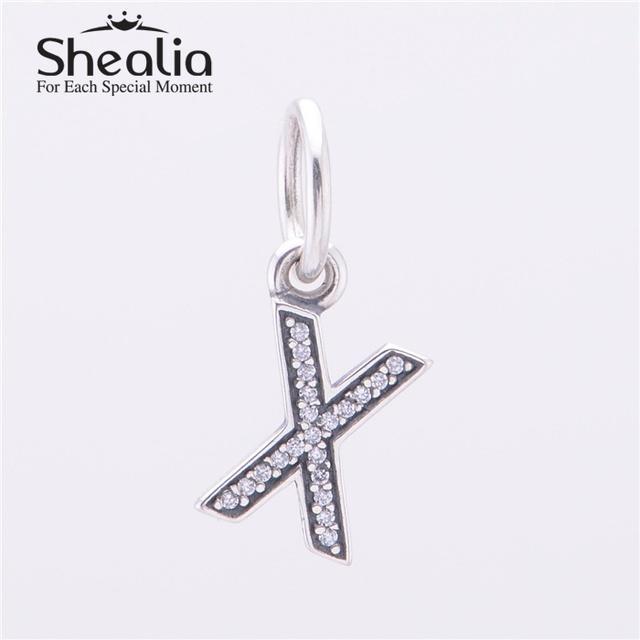 Аутентичные стерлингового серебра 925 письмо X мотаться подвески подвеска с четкими CZ для женщин известный браслеты сделай сам ювелирное LE13X