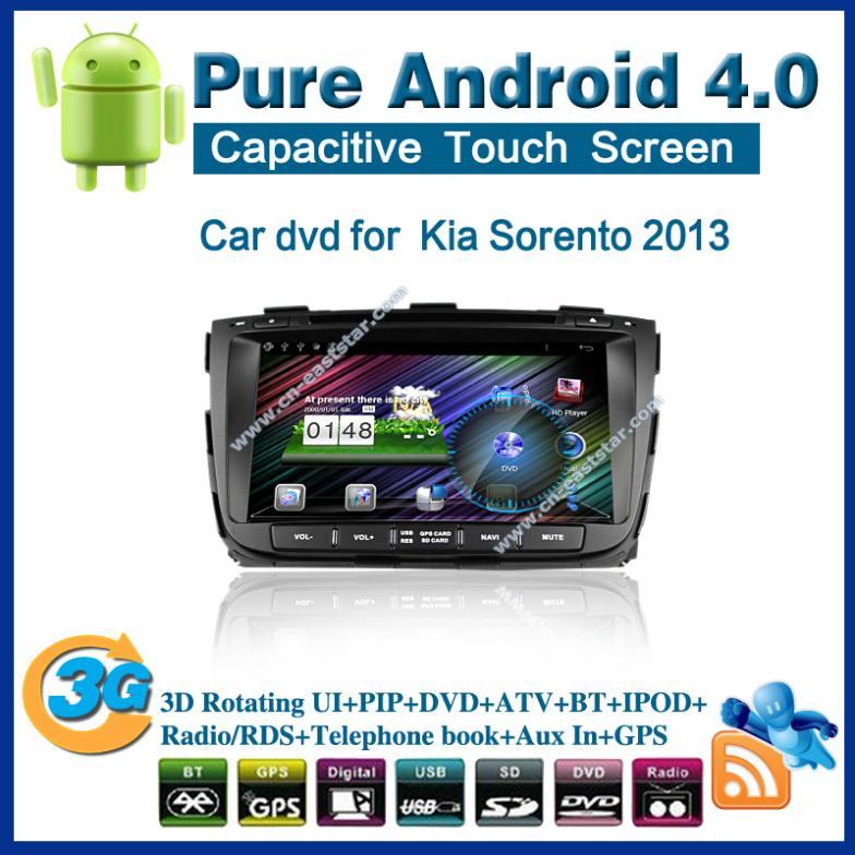 Pure android 4.0 Car DVD for Kia Sorento 2013 with radio gps PC bluetooth car kit TV USB Wifi 3G audio Free shipping 2356(China (Mainland))