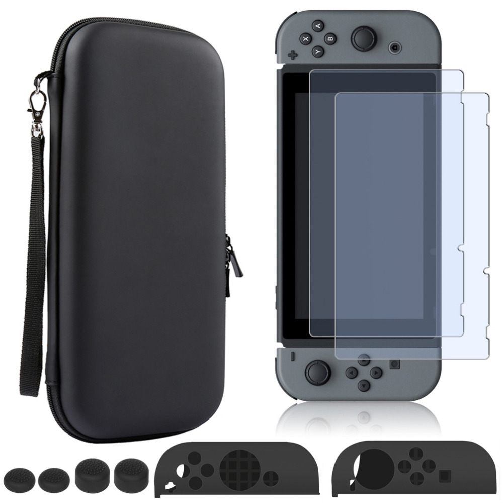 PU Hard Shell Portable Carrying Bag + 2x Tempered Glass Screen Protector + Anti-slip Silicone Case set for Nintendo Switch