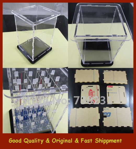 Free Shipping Transparent Acrylic Cube Shell For 4x4x4 3D LightSquared 2*5*7MM LED Cube(China (Mainland))