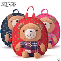 hot backpack school bag bear doll cartoon infant ploughboys double-shoulder school bag kid backpack kindergarton  backpack