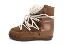 Isabel Marant Women Winter Warmly Plush Fur Ankle Snow Boots Genuine Leather Height Increasing Sneakers