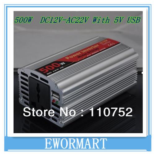 modified sine wave 500W inverter 12V 220V car power inverter 500W with USB ports Al-Mg alloy shell high quality(China (Mainland))