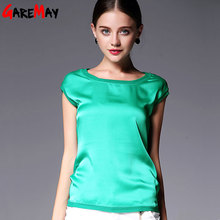 Summer women blouses 2016 new casual chiffon silk blouse slim sleeveless O-neck blusa feminina tops shirts solid 8 color  Y048(China (Mainland))