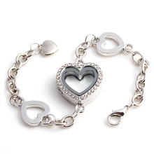 2015 New Fashion Charm Heart Memory Living Glass Floating Locket Chain&Link Bracelets With Rhinestones For Women(China (Mainland))